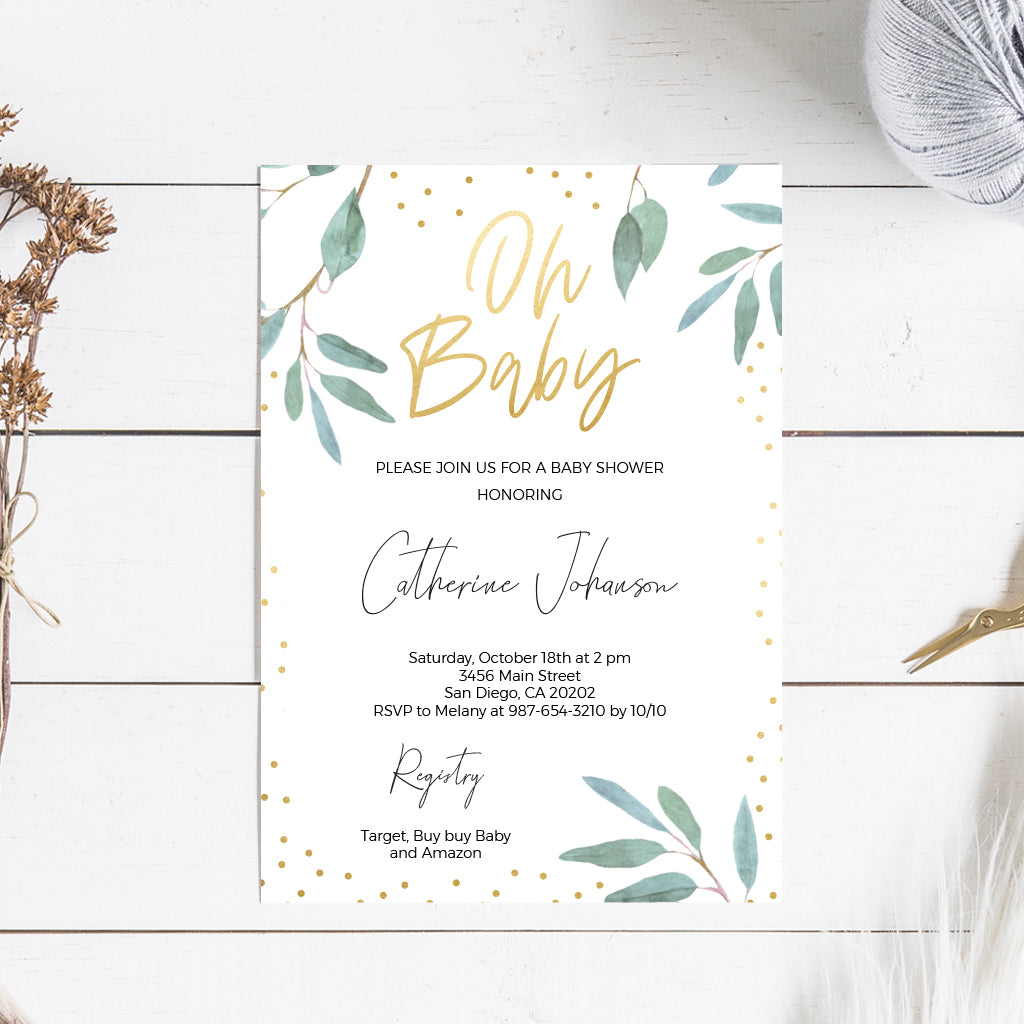 photo regarding Baby Shower Printable Invitations named Greenery and Gold Child Shower Invitation Printable