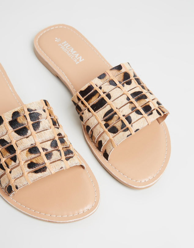 HUMAN SHOES OCELOT PILGRIM  LEATHER SLIDES