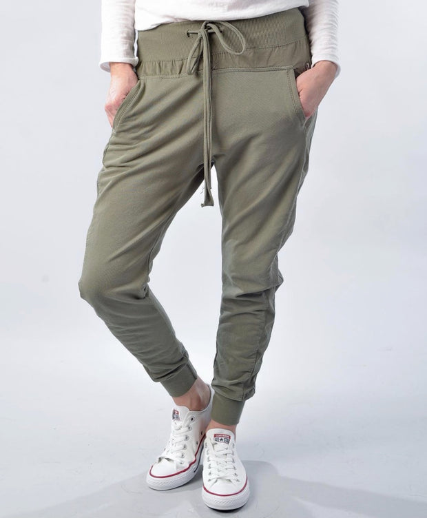 SUZY D LONDON CANVAS JOGGERS KHAKI