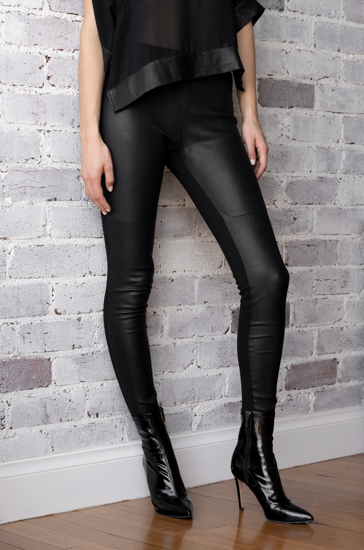 DEA THE LABEL LEATHER PONTE PANTS