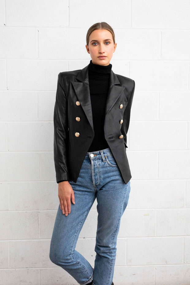 DEA BELLA LEATHER BLAZER BLACK