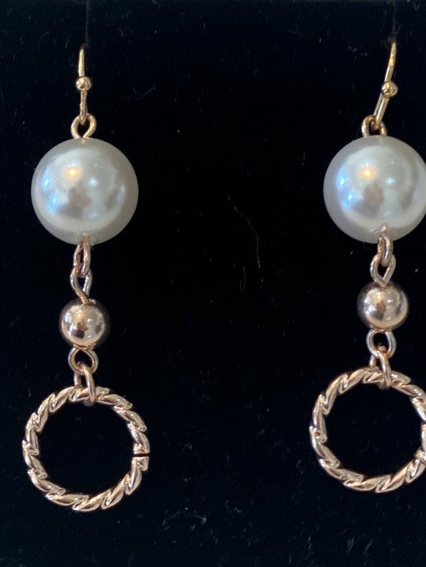 VALENTINA PEARL DROP ROSE GOLD EARRINGS