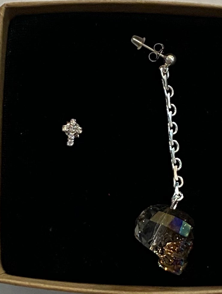 VALENTINA CUSTOM SWAROVSKI CRYSTAL SKULL AND RHINESTONE CROSS EARRING SET