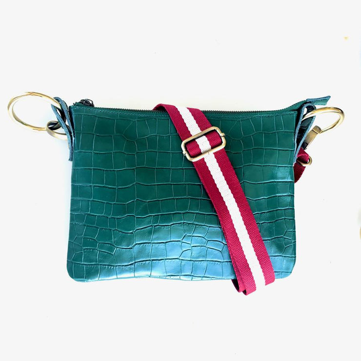 Kali Label Nina  Emerald Croc Crossbody Bag