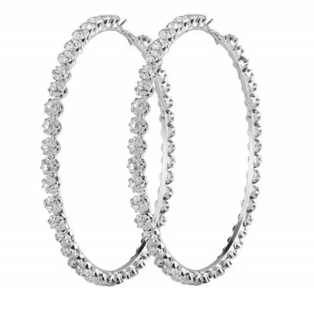 STYLR Collective Silver Rhinestone Hoops