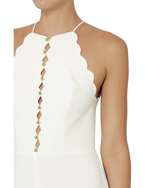 My Ex Lover Zimmermann Scallop Edge Jumpsuit In Pearl White