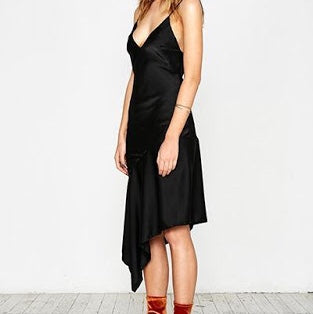 My Ex Lover Shakuhachi Satin Drape Hem Cami Dress