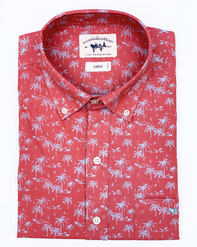 Spice Coral Tropical Print Sport Shirt