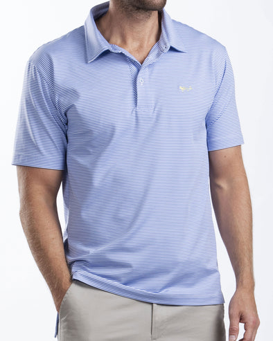 Medium Blue Stripe Performance Polo