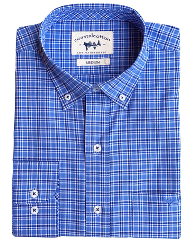 Navy Blue Windowpane Sport Shirt