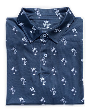 Navy Palms Pique Performance Polo