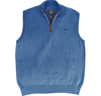 Coastal Cotton Clothing - Quarter Zip - Ocean Blue Quarter Zip Vest