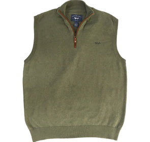 Coastal Cotton Clothing - Quarter Zip - Oil Green Quarter Zip Vest