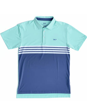 Beach Glass Engineer Stripe Performance Polo