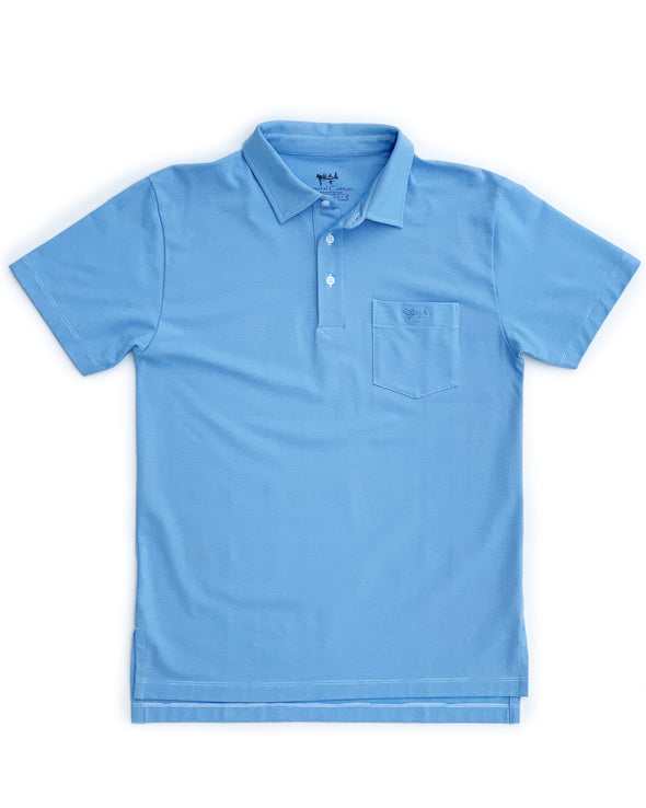 Medium Blue Mini Stripe Performance Polo