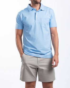 Medium Blue Mini Stripe Performance Polo with Pocket