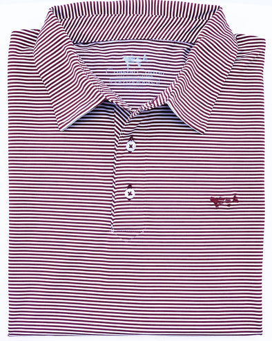 Crimson Stripe Performance Polo
