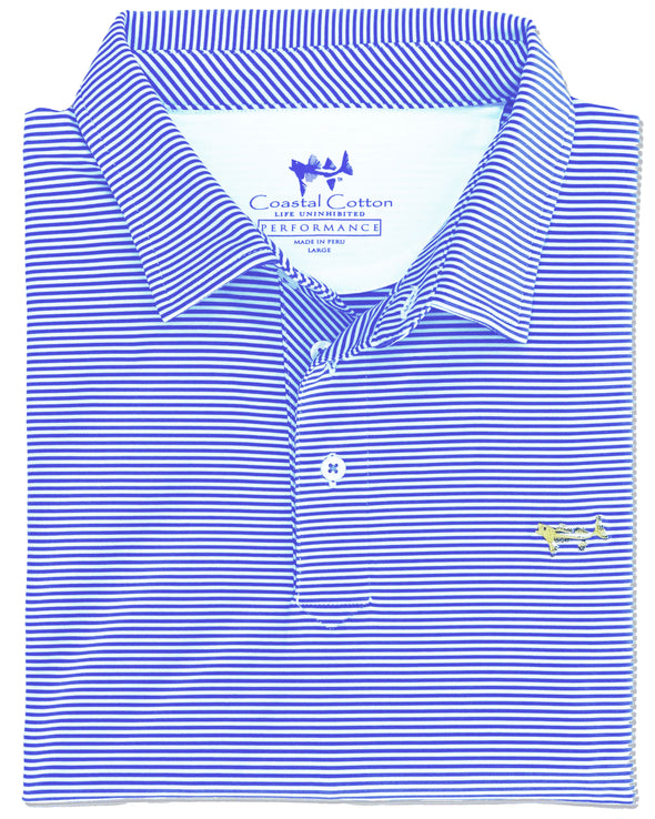 Medium Blue Fine Line Polo