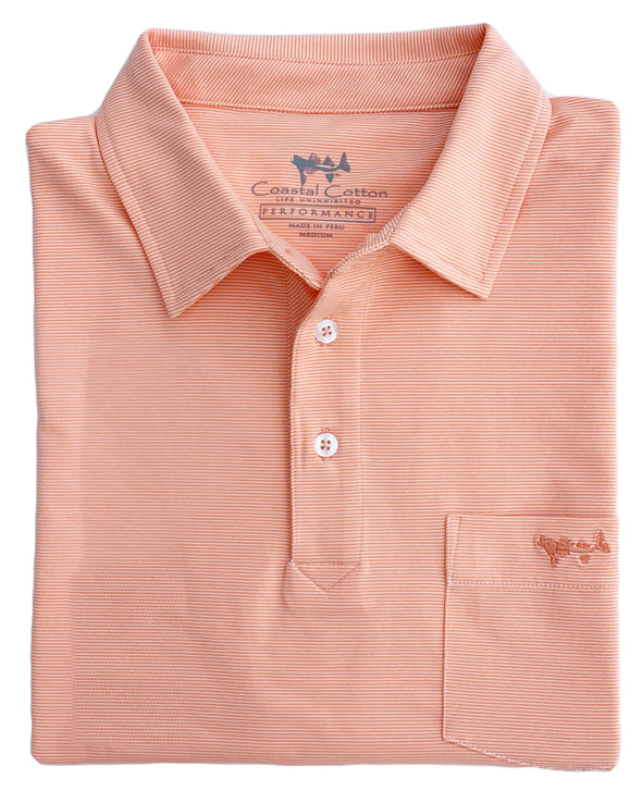 Melon Mini Stripe Performance Polo with Pocket