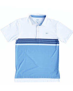 Coastal Cotton Clothing - Polos - Placid Blue Engineer Stripe Performance Polo
