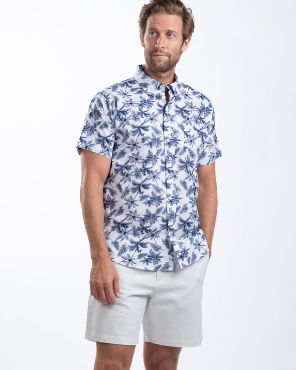 Tropical Print Cotton Linen Sport Shirt