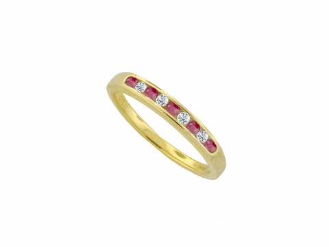 Ruby and Diamond Gold Eternity Ring 0517