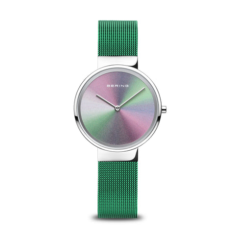 Bering Ladies Anniversary Green Milanese Strap Watch 10x31ANNI