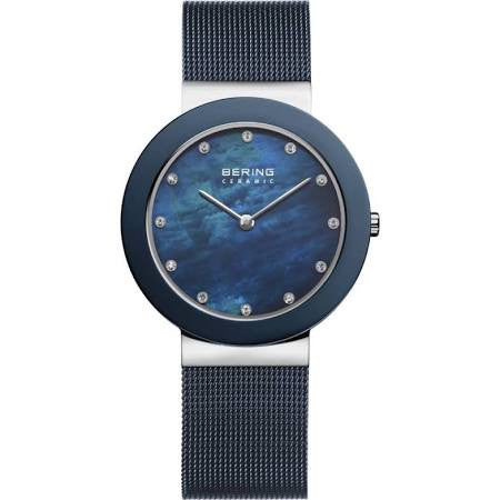 Bering Ladies Steel and Blue Classic Watch 11435-387