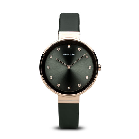 Bering Ladies Rose-Gold and Dark Green Strap Watch 12034-667