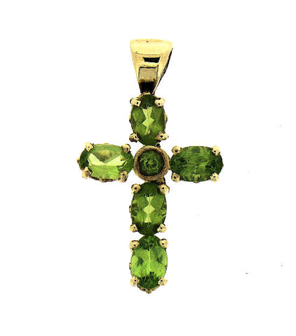 Peridot Gold Cross Pendant 170