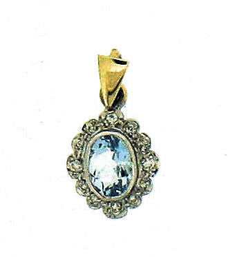 Aquamarine & Diamond Gold Pendant 176