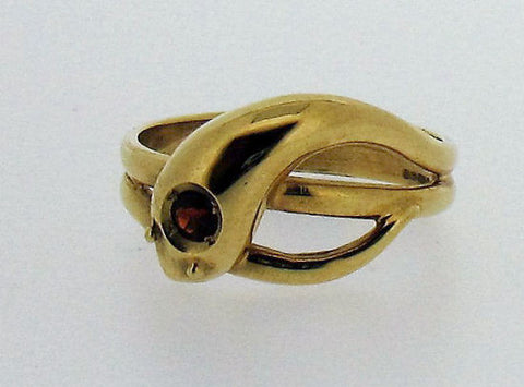 Garnet and Gold Gents Snake Ring No51