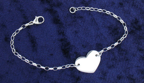 Silver Heart and Belcher Chain Bracelet 201014