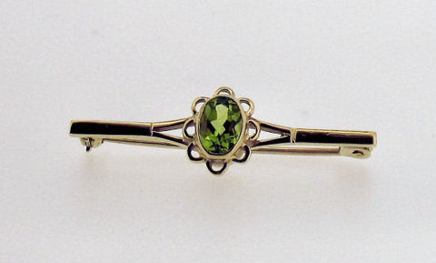 Peridot and Gold Bar-Brooch 203