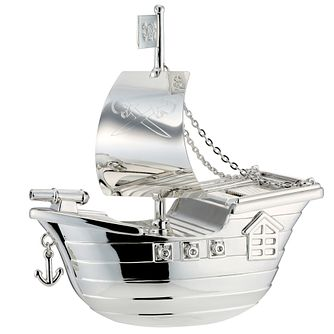 Silver Plated Pirate Ship Money Bank 2785