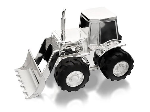 Silver Plated Tractor/Digger Money Bank 2814