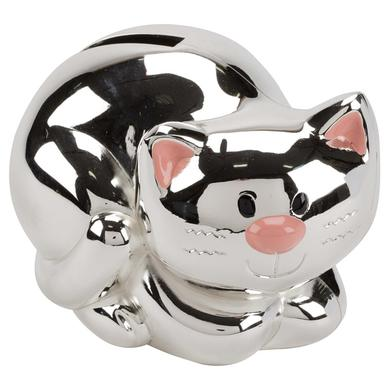 Silver Plated Kitten Money Bank 2857