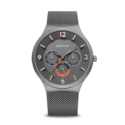 Bering Gents Grey Classic Milanese Strap Watch 33441-377