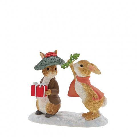 Flopsy and Benjamin Bunny Under the Misteltoe Figurine A30181