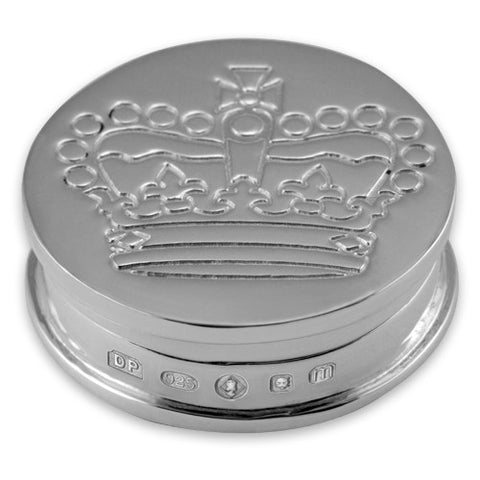 Silver Hallmarked Crown Engraved Toothfairy/Pillbox 3494JB