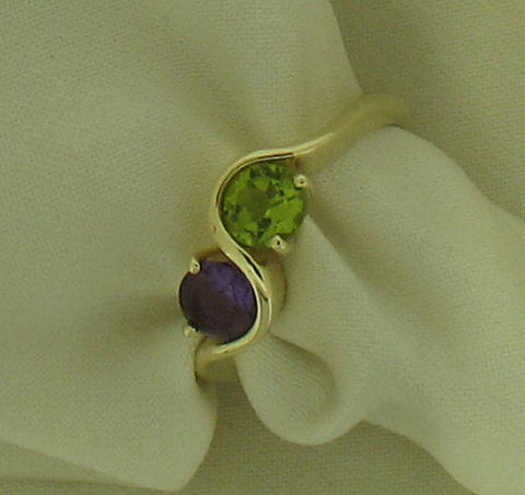 Peridot and Amethyst 9ct Gold Ring 41837