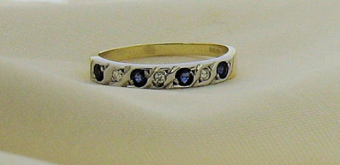 Sapphire and Diamond 9ct Gold Eternity Ring 48A