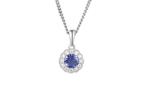 Tanzanite and Cubic Zirconia Silver Pendant 9231TZ/CZ