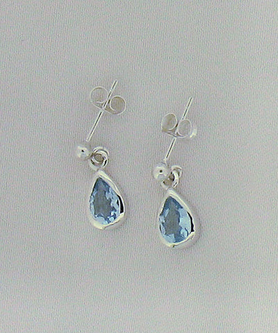 Blue Topaz and Silver Drop Earrings S2739