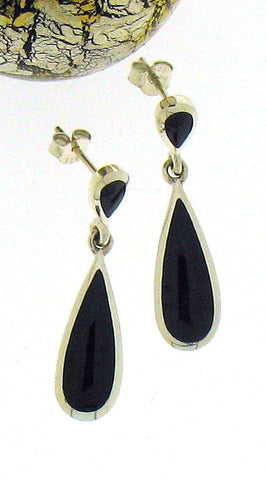 Whitby Jet & Silver Drop Earrings 52741