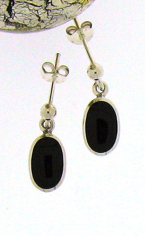 Whitby Jet & Silver Drop Earrings 52749
