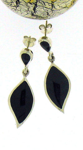 Whitby Jet & Silver Drop Earrings 52751