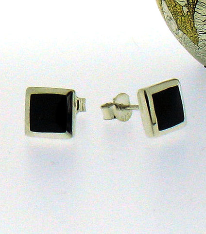 Whitby Jet Square Silver Stud Earrings 56232