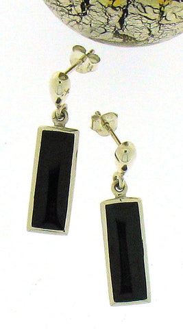 Whitby Jet & Silver Drop Earrings 56238
