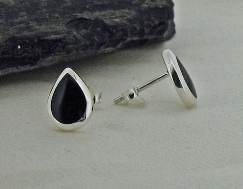 Whitby Jet teardrop Silver Stud Earrings 56350
